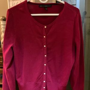 WHBM hot pink button up sweater large